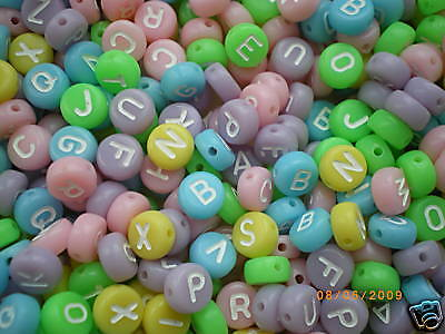 100 x Mixed Colour Alphabet Letter Beads 7MM