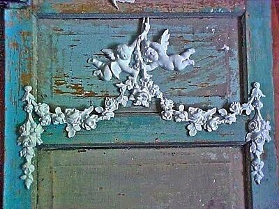 SHABBY & CHIC ROSES CHERUBS SWAGS *FURNITURE APPLIQUES* Old