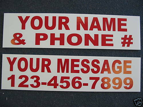 """10 6""""x18"""" REAL ESTATE For Sale or Lease or Rent or Custom Name RIDER SIGNS"""