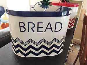 BN Bread Big Bin Canister Storage Tin Chevron Pattern Blue Red Epping Ryde Area Preview