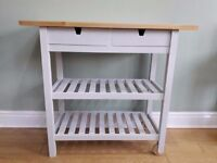 Grey painted kitchen island/trolley/butchers block