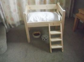 CUTEST, BRAND NEW, SOLID PINE, SMALL, HIGH BED FOR YOUR CAT OR SMALL DOG