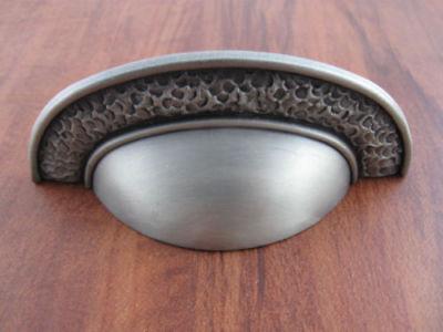 Cup Pull Hammered Kitchen Cabinet Dresser Bin Hardware PBF717Y