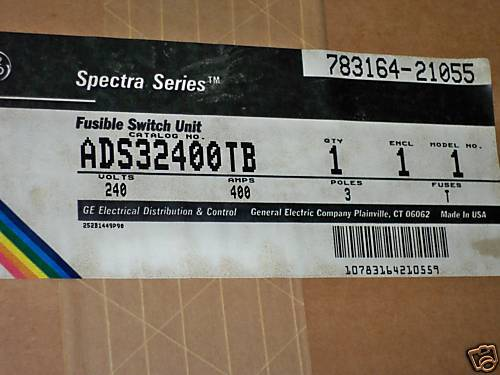 Ge Spectra Ads32400tb 400a 240v 3ph Fusible Panelboad Switch - New Surplus