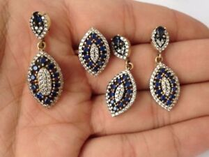 925 Solid Sterling Silver Sapphire Topaz Set