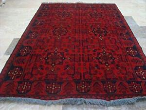 Rectangle Area Rug Afghan Khal Muhamadi Fine Hand Knotted Wool Carpet (6.2 x 4.3)'