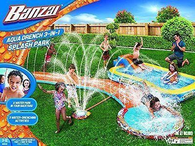 Kids Inflatable Water Slide Bounce House Sprinkling Park Swimming Pool Backyard