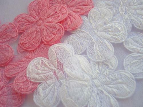 50 Pink White Double Layer 1.5 Lace Flower Applique/Craft/Sewing/Trim/Sew L63 - $5.85