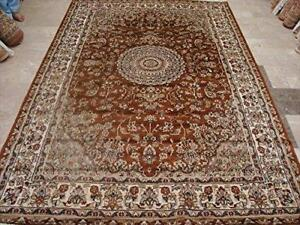 Wow Exclusive Burnt Orange Rust Floral Rectangle Area Rug Hand Knotted Wool Silk Carpet (6 x 9)'
