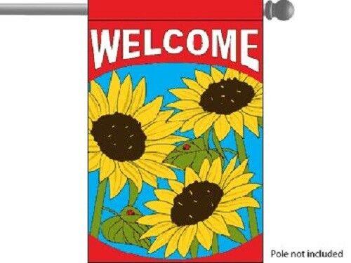 "Welcome Sunflowers Spring GARDEN HOUSE BANNER/FLAG 28""X40"" S"