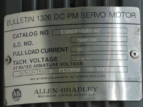 Allen Bradley 1326ddp-s2b-a2 Dc Servo Motor 138-18-1548-0 Pt22896  Bh