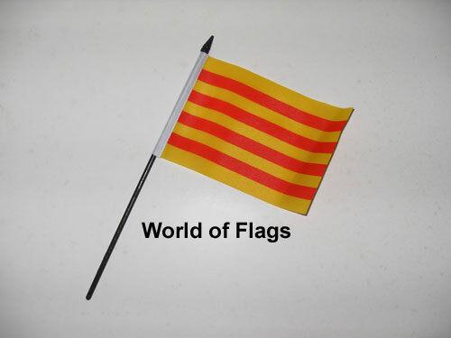 "CATALONIA SMALL HAND WAVING FLAG 6"" x 4"" Spain Spanish Crafts Table Display"