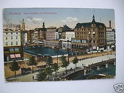 AK Hamburg Alster-Arkaden mit Reesendamm 1916