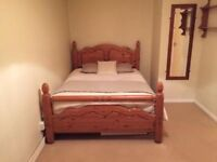 Double pine bed with mattress