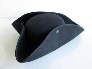 ADULT BLACK COLONIAL PIRATE TRICORNE TRI-CORNER TRICORN COSTUME HAT WASHINGTON