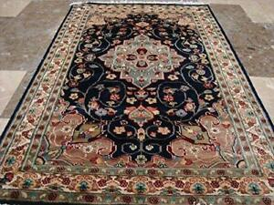Navy Blue Beauty Floral Oriental Area Rug Hand Knotted Wool Silk Carpet (5 X 3)'