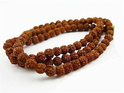 """Large Long Tibetan 108 9mm Rudraksha Bodhi Seed Prayer Beads Mala Necklace -38"""""""