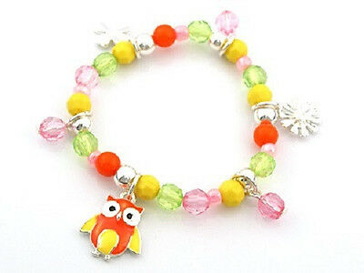 Childrens Multi-Color Beaded Stretch Bracelet With Owl Charm