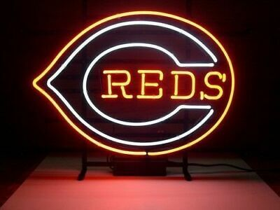 "New Cincinnati Reds Neon Light Sign 20""x16"" Beer Gift Bar Real Glass Handmade"