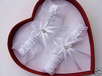 Traditional White Bridal Wedding Garter  *Love Charm