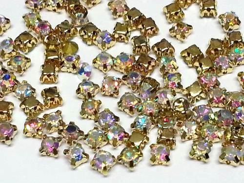 CraftbuddyUS100pcs 4.3mm SS18 AB Clear Sew On Gold Set Glass Crystal Gems, DIY