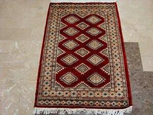 Exclusive Red Abstract Jaldar Flowers Area Rug Hand Knotted Wool Silk Carpet (4 x 2.6)'