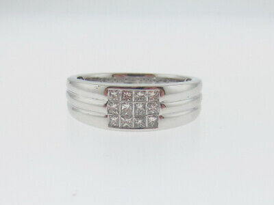 MENS Invisible Setting Genuine Diamonds Solid 14K White Gold Ring Free -