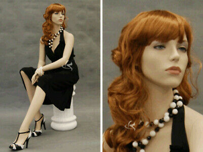 Fiberglass Female Mannequin Sitting Pose Dress Form Display Md-9020