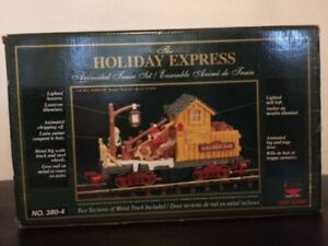 New Holiday Express Train Car Log Mill Christmas Animated 380-4