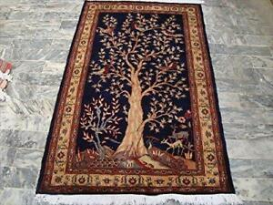 Tree of Life Birds Deer Oriental Hand Knotted Wall Rug Wool Silk Carpet (5 x 3)'