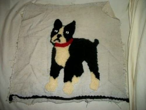 ANTIQUE FRENCH KNOT BULLDOG NEEDLEPOINT PILLOW TOP RAW SILK FRANCE RARE