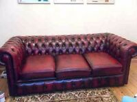 Vintage chesterfield maroon red 3 piece suite: sofa and 2 armchairs