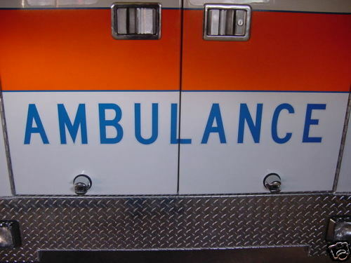 "Ambulance Decal - 6"" Reflective - Blue w/ White border"