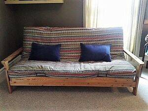 Wooden Futon plus cushions