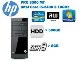 HP Pro 3300 Series MT Intel Core i5-2400 ,8GB, 500GB DVD/RW WIN 7 PRO DELL AND HP LCD AVALBLE