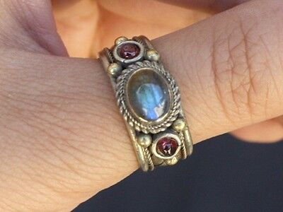 Solid Tibetan 3-color Copper Rainbow Moonstone Garnet 3 Gemstone Ring Thumb Ring