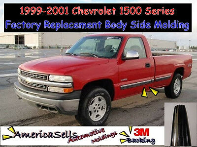 - 1999-2001 CHEVROLET CHEVY SILVERADO 1500 TRUCK CHROME BLACK BODY SIDE MOLDING