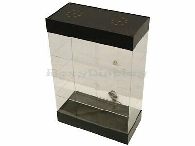 Acrylic Counter-top Display Case With Led Lights And Lock - 3 Rows Of Shelving