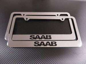 2 Brand New SAAB chrome METAL license plate frame