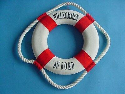 Hochwertiger maritimer Rettungsring rot oder blau drei Größen Willkommen an Bord ()
