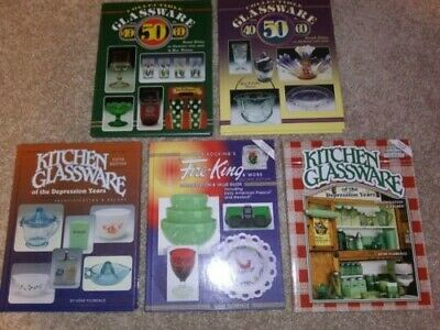 5 HC Books~Glassware 40s 50s 60s~Fire King~Kitchen Glassware of Depression Years
