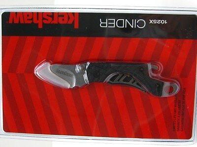 KERSHAW Black Handle CINDER Plain Folding Pocket Knife Bottle Opener Tool! 1025