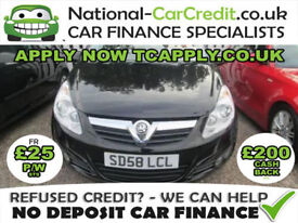 Vauxhall Corsa 1.4 i 16v Design 3dr (a/c) Good / Bad Credit Car Finance (black) 2008