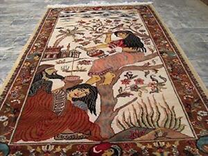 Love Umre Khayam King Queen Love Story Hand Knotted Wall Rug Wool Silk Carpet (5 X 3)'