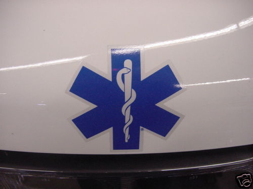 "4"" Star of Life - Ambulance Decal -Blue w/ White border"