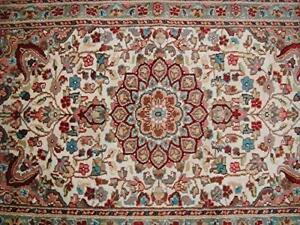 Ivory Floral Oriental Area Rug Hand Knotted Wool Silk Carpet (5 x 3)'