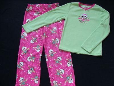 Monkey Pink Girls Pajamas - NWT Girls Fleece Pajamas Size 6 6X Winter Pjs Pink Monkey Pants 2pc Holiday NEW