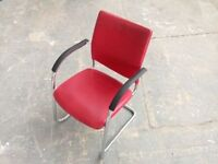 STUNNING RED LEATHER BOARDROOM CHAIR, OFFICE, MEETING, RECEPTION, WAITING ROOM. 24 AVAILABLE