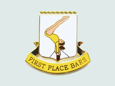 First Place Bars Gymnastics Award Lapel Pin - CONGRATULATIONS!