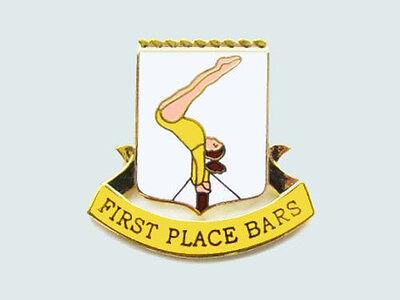 First Place Bars Gymnastics Award Lapel Pin CONGRATULATIONS